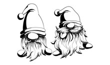 Two Funny Vector And Bearded Gnomes. One Language Shows The Other Simply In Black And White Style