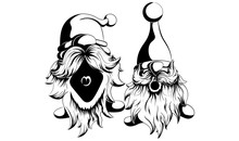 Two Funny Vector And Bearded Gnomes. One Shouts The Other Strict Is Worth Scared In Black And White Style