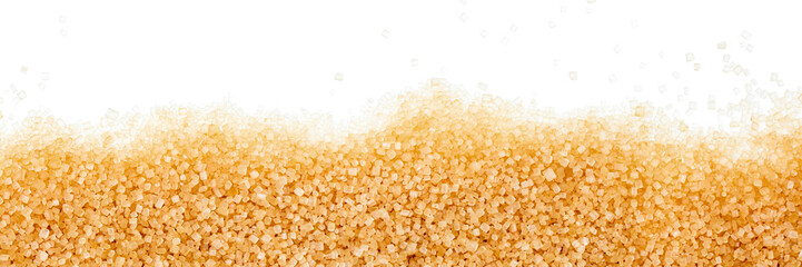 brown sugar crystals on white background, panorama
