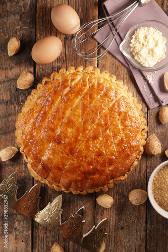 galette des rois, epiphany cake with ingredient and crown Fotobehang