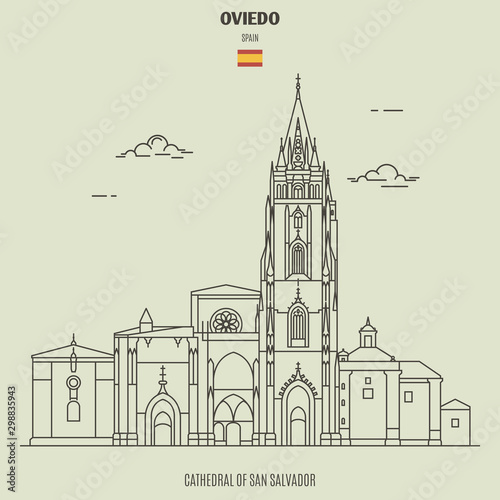 Cathedral of San Salvador in Oviedo, Spain. Landmark icon Canvas Print