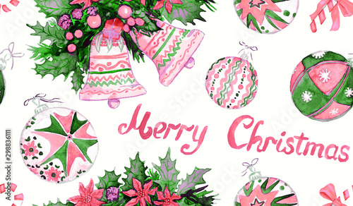 Montage in der Fensternische Künstlich Christmas decorations and greetings, pink and green colors palette, hand painted watercolor illustration, seamless pattern design on white background