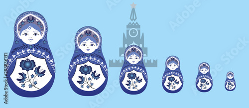 Fototapeta  Russian dolls in the Gzhel style on the background of the Kremlin building