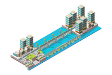 Urban River. City Landscape With Low Poly Buildings And Bridge Big Viaduct Vector Isometric. Bridge Over River In City, Urban Architecture Illustration