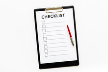 Checklist And Pen On White Background Top View Copy Space