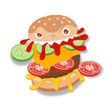 Cartoon Monster Burger, Isolat...