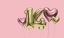 Happy 14th Birthday Party Celebration Balloons With Hearts. 3D Render