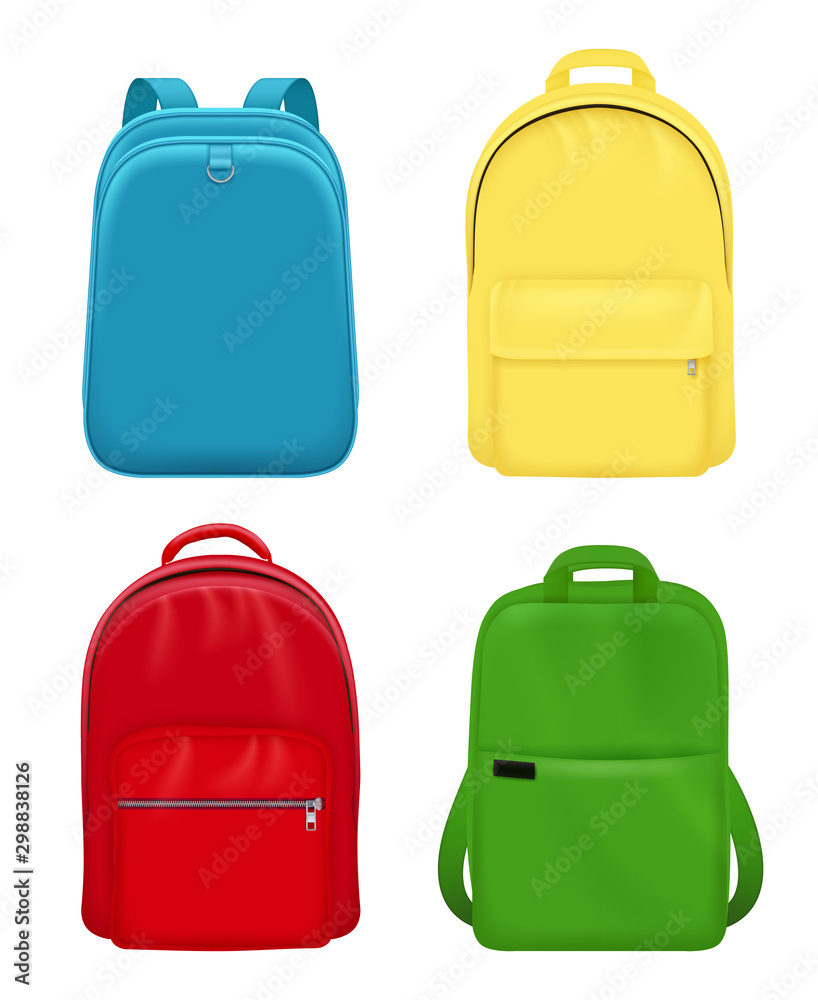 Fototapety, obrazy: Backpack realistic. School bag personal leather travel luggage vector mockup objects. Illustration school backpack, bag and luggage