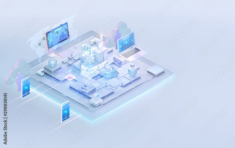 Fototapeta Isometric internet website interface background design. Web platform development, PC software programming business, big data analysis, blockchain, management, consulting, cloud storage, technology. 3D