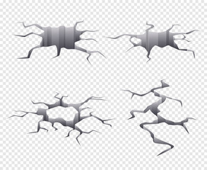 Cracked earth. Dry and dead ground damaged and cracked vector realistic template. Illustration split surface after earthquake, ground cracked damaged