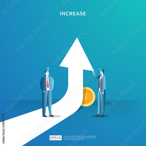 income salary rate increase concept illustration with people character and arrow Canvas-taulu