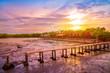 Beautiful sunset background at beach and nature on evening,Thailand Samut Sakhon Travel