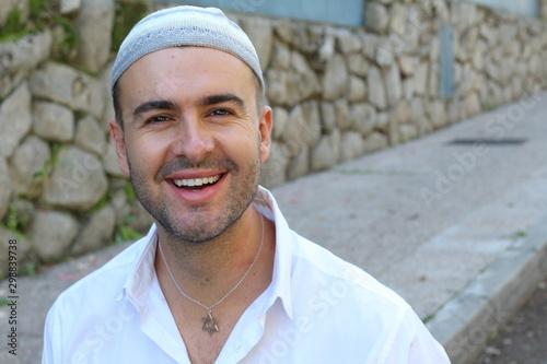Fototapeta  Jewish man wearing a significative necklace  obraz
