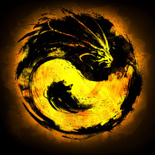 Golden Emblem Yin Yang With A Dragon. 2D Illustration