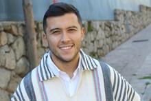 Good Looking Hispanic Man Wearing A Ruana