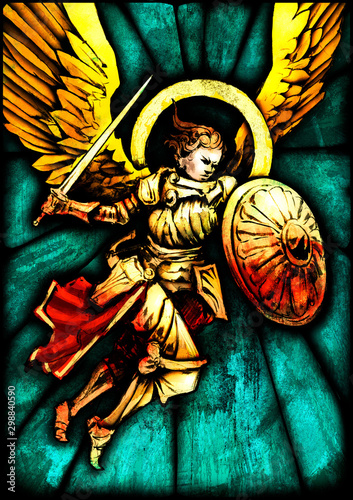 Obraz na plátně Stained glass with the image of an angel flying to the attack, in gold armor with a sword and a shield