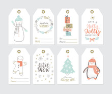 Set Of Cute Christmas Gift Tags In Hand Drawn Doodle Style. Vector Greeting Card Designs With Lettering And Illustrations Of Winter Wreath, Snowman, Penguin, Gift Boxes, Gingerman, Christmas Tree.