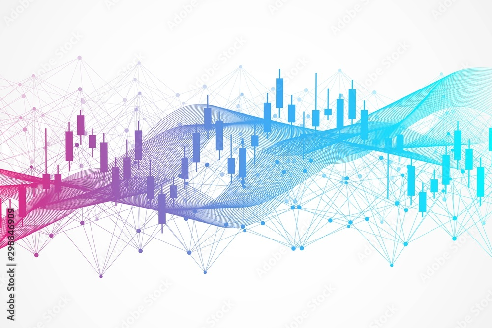 Fototapeta Stock market or forex trading graph. Chart in financial market vector illustration Abstract finance background.