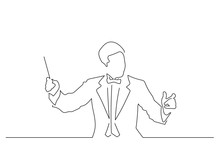 Orchestra Conductor Line Drawi...