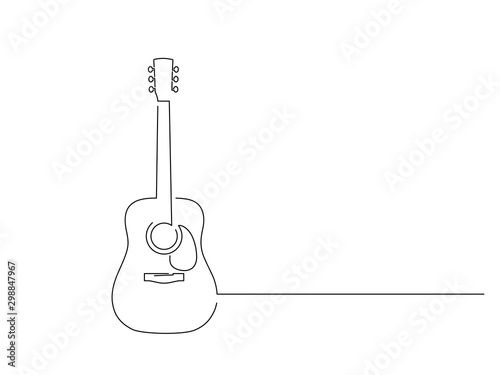 Obraz Acoustic guitar isolated line drawing, vector illustration design. Music collection. - fototapety do salonu
