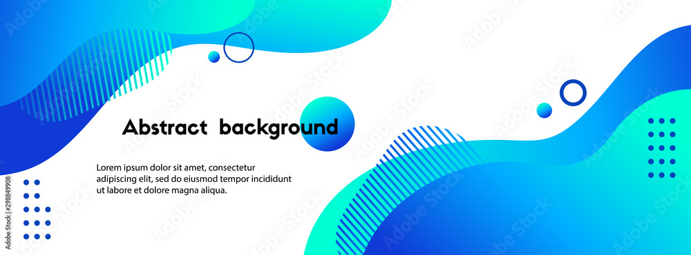 Fototapety, obrazy: Liquid abstract background. Blue fluid vector banner template for social media, web sites. Wavy shapes