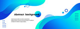 Liquid abstract background. Blue fluid vector banner template for social media, web sites. Wavy shapes