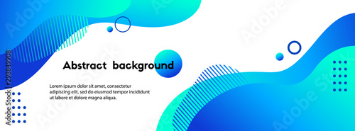 Obraz Liquid abstract background. Blue fluid vector banner template for social media, web sites. Wavy shapes - fototapety do salonu