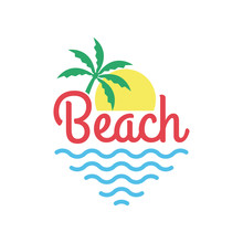 Beach Logo With Palm Tree, Sun And Sea Or Ocean. Tropical T-shirt Typography Design. Apparel Graphic. Vector Illustration.