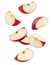 Falling Red Apple Slice Isolated On White Background, Clipping Path, Full Depth Of Field