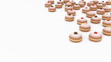 Traditional Fried Donuts With Jam, Chocolate, Vanilla Toppings, Soft Focus On White Background With Space For Text. Polish Homemade Doughnuts, Front View. Sweet Dessert Donut Minimalist Background.