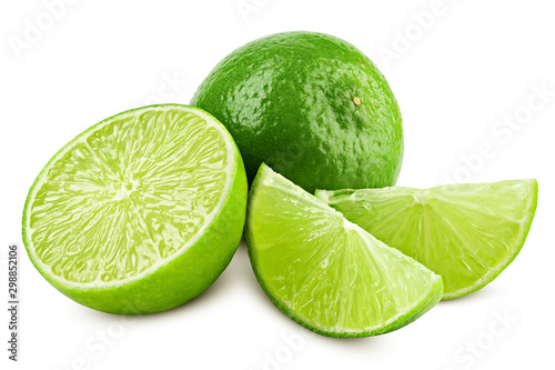 Fotografering lime isolated on white background, clipping path, full depth of field