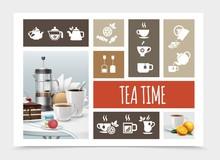 Tea Party Elements Composition