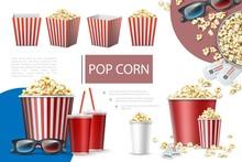 Realistic Popcorn Elements Com...