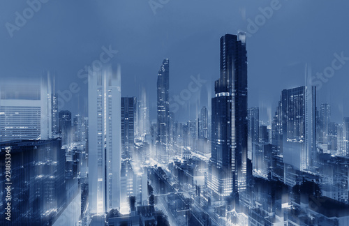 obraz PCV Futuristic blue Bangkok city, futuristic city background