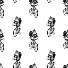 Seamless Background Of Sketches Of Santa Claus Riding A Bicycle