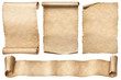 canvas print picture - Old paper scrolls set isolated on white
