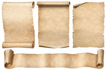 Old Paper Scrolls Set Isolated...