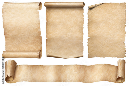 Old paper scrolls set isolated on white Canvas-taulu