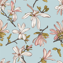 Seamless Pattern With  Beautiful Spring Magnolia Flowers