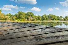 Edge Of An Old Dock At A Lake In Saginaw, Michigan
