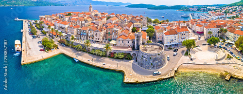 Stampa su Tela Korcula. Historic town of Korcula aerial panoramic view