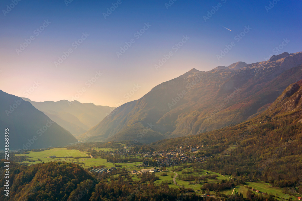 Fototapety, obrazy: Aerial panorama of Bovec village, valley surrounded by Julian Alps and mountains