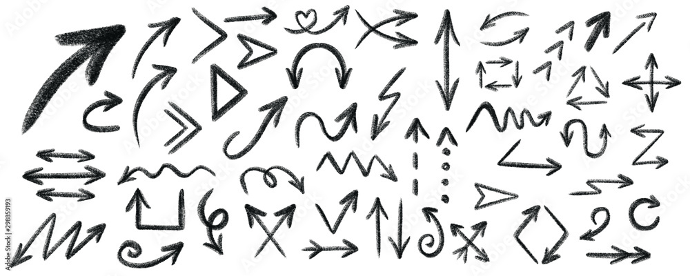 Fototapety, obrazy: Arrow grunge vector set. Arrow texture vector set. Arrow chalk vector set.