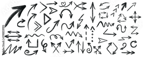 Obraz Arrow grunge vector set. Arrow texture vector set. Arrow chalk vector set.  - fototapety do salonu