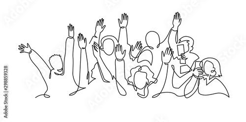 Fotografía  Cheerful crowd cheering illustration