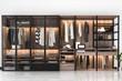Leinwanddruck Bild - 3d rendering minimal scandinavian walk in closet with wood wardrobe