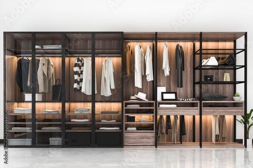 Fotografía 3d rendering minimal scandinavian walk in closet with wood wardrobe