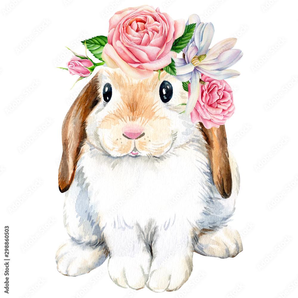 plakat, śliczny królik z różami kwitnie na odosobnionym białym tle, zwierzęta ilustracyjni <span>plik: #298860503 | autor: Hanna</span>