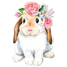 Poster, Cute Bunny With Roses ...