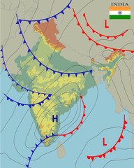 India. Realistic synoptic map of the India showing isobars and weather fronts. Meteorological forecast. Topography and physical map of country with national flag. Vector illustration. EPS 10